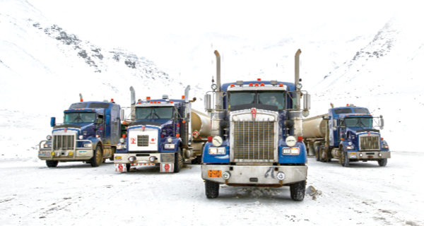 Trucks transporting goods in Alaska