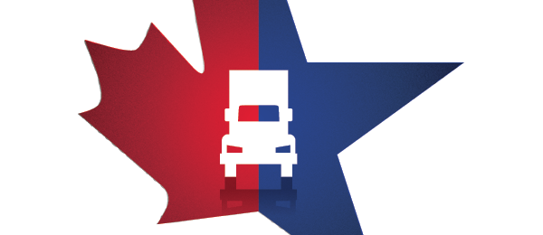 Illustration of maple leaf joined to star with truck in the center