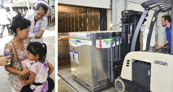 A patient receiving a vaccine and a worker moving a pallet with a forklift