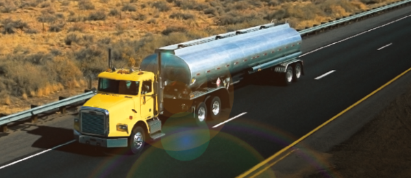 Tank truck hauling chemicals