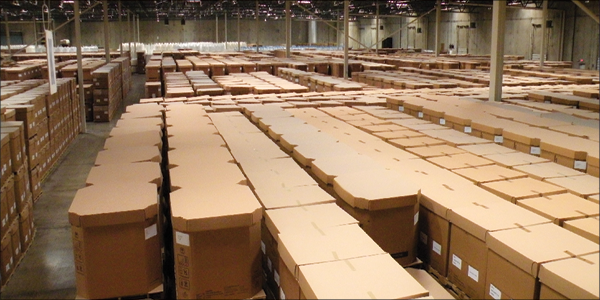Boxes of chemicals in a warehouse