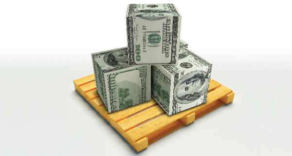 Illustration of stacks of money on a pallet