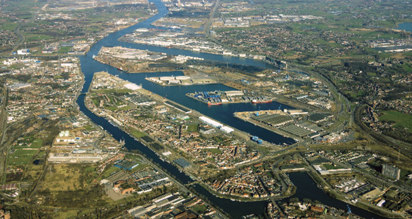 Aerial photo of the Port of Ghent