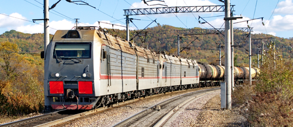 Freight train on Trans-Siberian Line