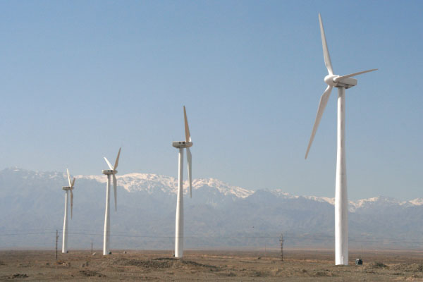 Wind turbines in China's Xinjiang province