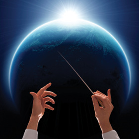 Concert conductor hands with baton islolated on black background