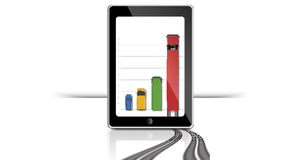 A tablet screen displays trucks on a graph