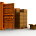 A shipping container, a pallet of boxes, and boxes of various sizes