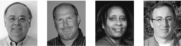 Photos of profile subjects Lewis Dibert, Greg Schwartz, Debbie Jackson, and Fred Clark