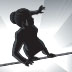 businesswoman on a tightrope