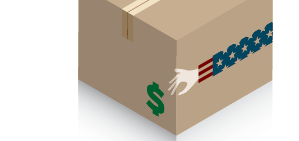 Cardboard box with Uncle Sam's arm reaching for a dollar sign