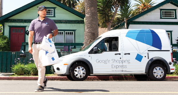 Google Shopping Express driver and delivery van