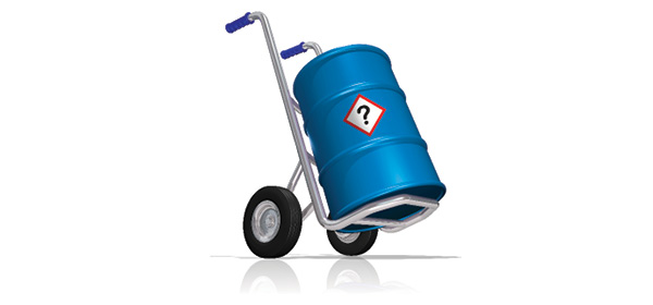 A barrel on a handtruck