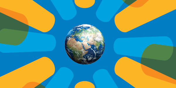 Illustration of Earth within Walmart logo