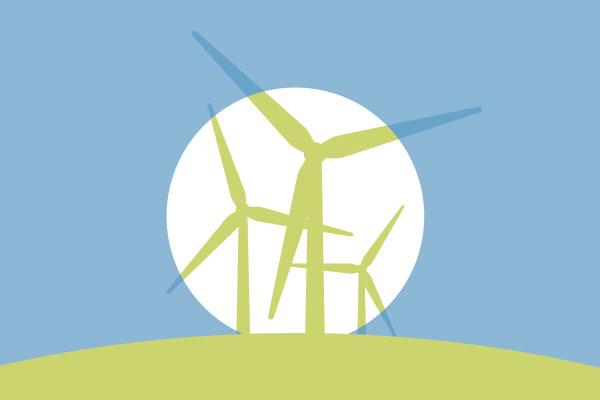 Wind turbines silhouette graphic