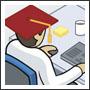 Graduate at desk illustration