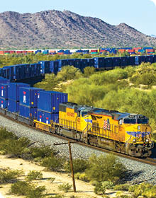 Rail Snaking it Way along a desert pass