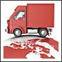 Truck on the globe