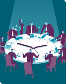 Business Leaders at a Clock Table