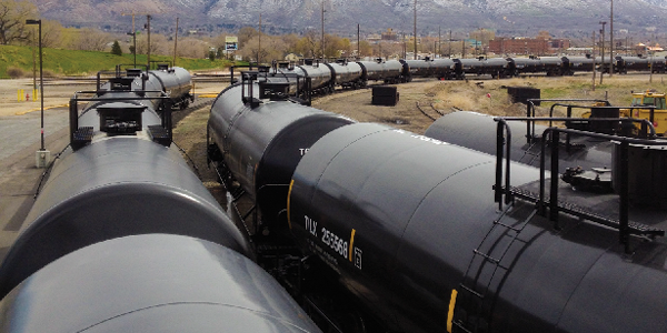 Railcars transporting chemicals