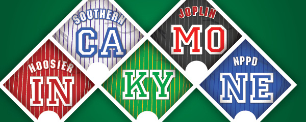 Illustration of states and regions presented as baseball jerseys