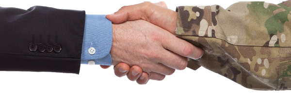 Handshake between people dressed in business suit and camo