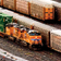 Trains in an intermodal railyard
