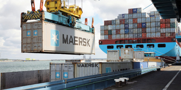 Cargo loading on docked Maersk container ship