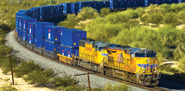 Double Stack APL train heading East on the Gila Sub between Yuma and Tucson Arizona