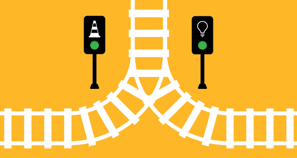 Illustration of railroad crossing