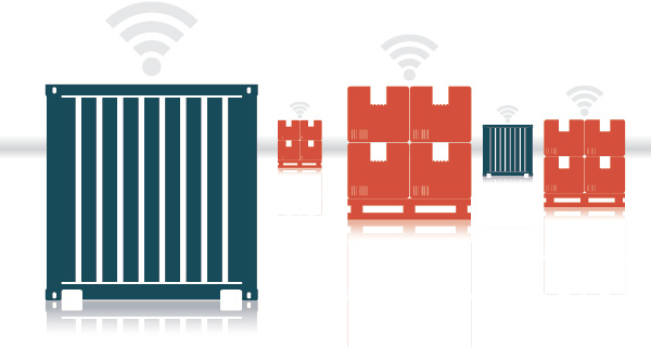 Containers and pallets emitting wireless signals