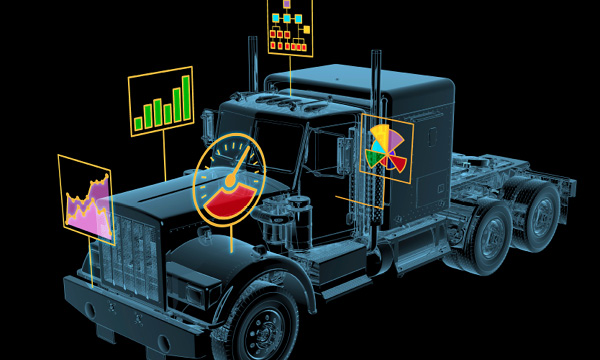 Illustration of a truck with graphs indicating performance levels