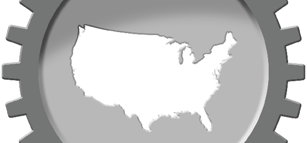 United States outlined within a cog