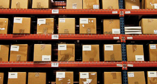 Boxes on a warehouse shelf